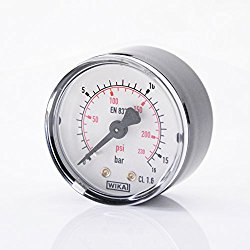 Manometer, 0 … 16 bar, NG50, G1/4″ hinten, WIKA