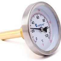 Thermometer 0 … 120 °C, Fühler 60 mm + Schutzhülse Messing hinten, einschraubbar G 1/2″