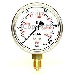 Manometer, Glyceringefüllt, 0 … 100 Bar, Anschluss Messing G 1/4″ unten, NG 63
